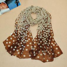 """Тонкий шарф """"Горох-пятнышки"""" (коричневый)"""