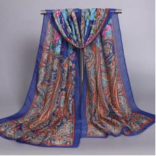 Шарф тонкий с орнаментом и цветами (синий)