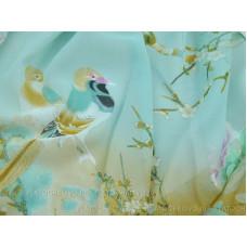 """Тонкий шарф """"Птицы, сакура"""" (бирюзовый)"""