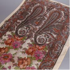 Шарф тонкий с орнаментом и цветами (кремовый)