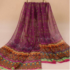 Шарф тонкий с марокканским орнаментом (фиолетовый)