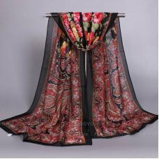 Шарф тонкий с орнаментом и цветами (черный)
