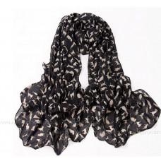 Тонкий шарф с силуэтами кошек (черный)