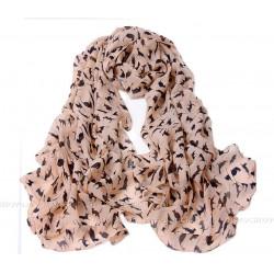 Тонкий шарф с силуэтами кошек (розовый)