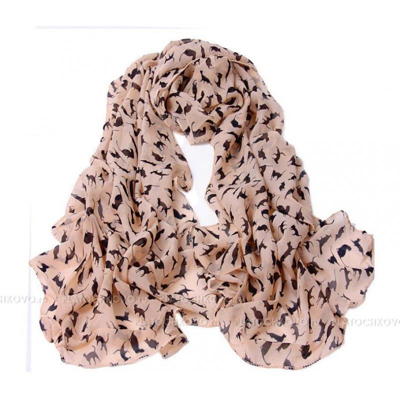 Тонкий шарф с силуэтами кошек
