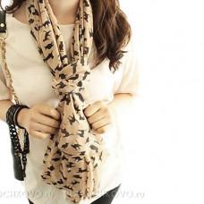 Тонкий шарф с силуэтами кошек (бежевый)