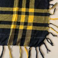 Платок с кистями в клетку  (желтый)