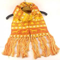 Шарф зимний с орнаментом и кистями (желтый)